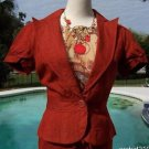 Cache $148 100% RAW SILK Lined Top JACKET NWT 0/2/4/6/8/10/12 RUST Color