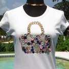 Cache $$$ STRETCH ELABORATE EMBELLISHED HANDBAG TEE Top NWT S/M