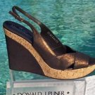 Donald Pliner $275 COUTURE METALLIC LEATHER WEDGE Shoe NIB CORK MID-SOLE