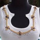 Cache $88 WOOD METALLIC BEAD EMBELLISHED NECK STRETCH Top NWT M/L/XL WINTER WHIT
