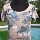 Cache $$$ ZEN SEA SHORE RHINESTONE EMBELLISHED STRETCH TEE Top NWT XS/S/M