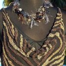 Cache $168 MULTI COLOR BEAD ENCRUSTED LINED Top NWT XS/S/M/L+ DRAPE NECK EVENT