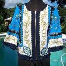 Cache $128 STATUS Top Jacket NWT XS/S/M STATUS PRINT DRAWSTRING BOTTOM ZIPPER