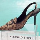 Donald Pliner $325 COUTURE LEATHER Pump Shoe NIB BRONZE FRENCH LEOPARD TAPESTRY