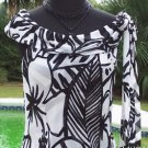 Cache $98  DRAPE NECK SELF-SCARF ABSTRACT BLACK & WHITE Top NWT S 100% Viscose