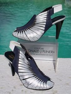 Donald Pliner $385 TWISTED Leather ELASTIC Slingback Shoe NIB PEEP-TOE 5 METALIC