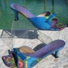 Stuart Weitzman $275 CAPRI PEONY LINEN LEATHER Shoe Sandal EUC 7.5  Slide