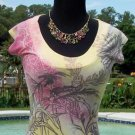 Cache $$$ STRETCH FLORAL IVEY SCOOP NECK TEE Top NWT S YUMMY SOFT