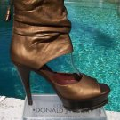 Donald Pliner $550 COUTURE METALLIC LEATHER PLATFORM Shoe NIB 6.5 PEEP-TOE