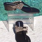 Donald Pliner  $200 COUTURE LEATHER Shoe Sandal NIB MESH ELASTIC THONG SANDAL