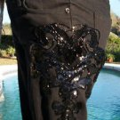 Cache $198 BEAD SEQUIN EMBELLISHED JEAN Pant NWT 0/2/10/12 XS/L TEXTURED STRETCH