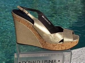 Donald Pliner $275 COUTURE METALLIC LEATHER WEDGE Shoe NIB CORK MID-SOLE 10