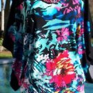 Cache $108 TOP NWT XS/S/M/L DOLMAN SLEEVE BANDED BOTTOM STRETCH TROPICAL