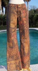 Cache $198 METALLIC DENIM ANIMAL FOREST Jean Pant NWT STRETCH 0/2/4/6/8/10