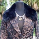Cache $298 REMOVABLE FOX COLLAR BRONZE METALLIC BROCADE Jacket Top NWT