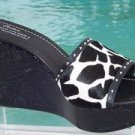 Donald Pliner $325 COUTURE ROSETTE LEATHER HAIR CALF WEDGE Shoe 10 11 STUD