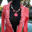 Cache $118 CORAL EMBELLISHED SHRUG WRAP Top NWT S Bead Sequin Stretch
