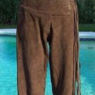 Cache $248 Brown BUTTER SUEDE LEATHER Pant NWT 2/4 XS/S FRINGE SELF-BELT LINED