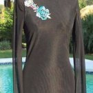 Cache SHEER ILLUSION MESH BLING EMBROIDERY EMBELLISHED Top NWT S/M LINED