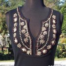 Cache $$ PLUNGING VNECK STRETCH WOOD BEADS STONES EMBELLISHMENT Top NWT XS/S/M/L