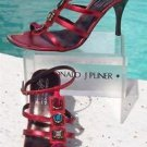 Donald Pliner $295 COUTURE METALLIC LEATHER Shoe NIB EMBELLISHED T-STRAP SANDAL