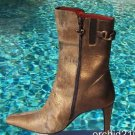 Donald Pliner $450 COUTURE SAND BRONZE METALLIC HAIR CALF LEATHER Boot Shoe NIB
