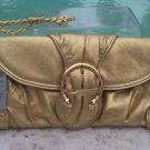 Cache $128 GOLD METALLIC LEATHER RHINESTONE PURSE NWT MATCHES TOPS PANTS