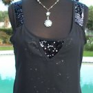 Cache $88 SEQUIN ENCRUSTED CAMI Top NWT XS/S/M/L/XL SHEER ILLUSION OUTER- LINED