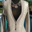 Cache $138 IVORY LIGHT GOLD METALLIC STRETCH CARDIGAN Top NWT SEQUINS EMBELISH M