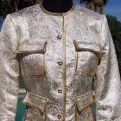 Cache $198 METALLIC BROCADE Top JACKET NWT GOLD/SILVER Lined EVENT EVENING