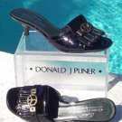 Donald Pliner $275 COUTURE PATENT LEATHER SLIDE Shoe NIB PEACE SIGN SIGNATURE