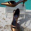 Donald Pliner $300 COUTURE ANTIQUE METALIC LEATHER Pump Shoe NIB T-STRAP CLASSIC