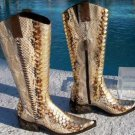 Donald Pliner $1500 WESTERN COUTURE METALLIC LEATHER BOOT Shoe NIB GAIL 5 5.5 6