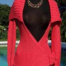 Cache $98 WRAP SELF-BELT CABLE KNIT JACKET Top NWT XS/S  WATER LILLY COLOR