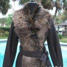 Cache $318 FOX Faux FUR LEATHER BODY Rib Knit Coat NWT S/M/L REMOVABLE BELT
