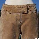 Cache $248 LINED SUEDE LEATHER Pant  NWT 6/8 S/M SELF-BELT GROMMET DETAIL