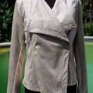 Cache $188 OFFSET FRONT HIDDEN SNAP Top JACKET NWT METALLIC SUEDE REPTILE S/M/L