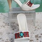Donald Pliner $275 COUTURE MILK LEATHER Shoe NIB COLORFUL STONES Shoe SLIDE