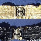 Cache $68 BLACK or GOLD pLEATHER STRETCH GATHERED BELT Pant NWT OSFA METAL BUCKL
