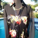 Cache $108 SHEER ILLUSION SHOULDERS SLEEVES SILK FLORAL Top NWT XS/S/M