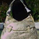 DONALD PLINER $625 METALLIC GATOR PURSE HAND BAG NWT ULTRA MODERN FABRIC