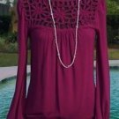 Cache $118 PEEK-A-BOO STRETCH MATTE JERSEY Top NWT PURPLE PLUM CHERRY STRETCH