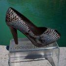 Donald Pliner $400 COUTURE PYTHON LEATHER Shoe Pump NIB 5.5 6 PEEP-TOE PLATFORM