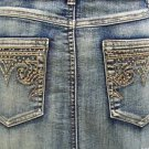 Cache $138 Denim RHINESTONE CROWN Skirt  NWT 8/10 M STRETCH 5 POCKET DESIGN