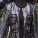 Cache $208 SEQUIN EMBELLISHED LINED Top JACKET NWT MESH & GROSGRAIN TRIM XS/S/M