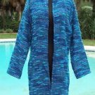 CHICO'S Chicos 1 $188 FUZZY DUSTER COAT Top  NWT S/M METALLIC KISSED