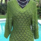 Cache $118 GREEN METALLIC PEEK-A-BOO KNIT Top NWT S/M/L BANDED BOTTOM STRETCH