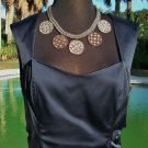 Cache $108 NAVY BLUE EVENT Top NWT SIZE L LINED SATIN FEEL BUSTIER CAMI