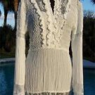 Cache $168 PEEK-A-BOO SHEER Illusion KRINKLE WRAP Top NWT M/L  SELF-BELT STRETCH