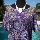 Cache STRETCH $$$ TEE Top NWT XS/S/M SCROLL REPTILE ANIMAL Banded Bottom